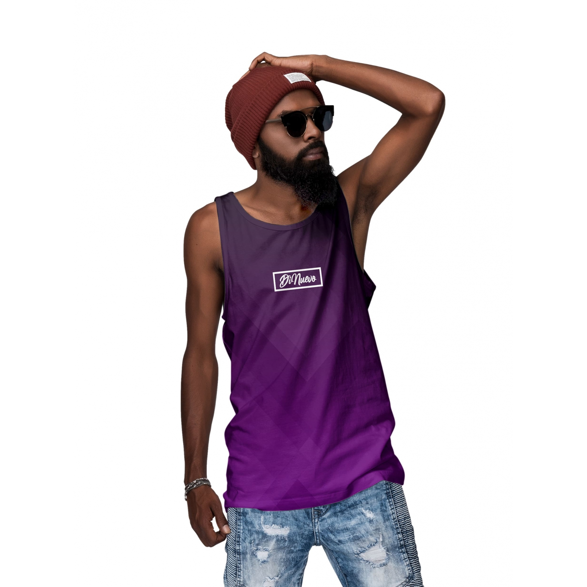 Camiseta Regata Roxa Masculina Full Print Geométrica