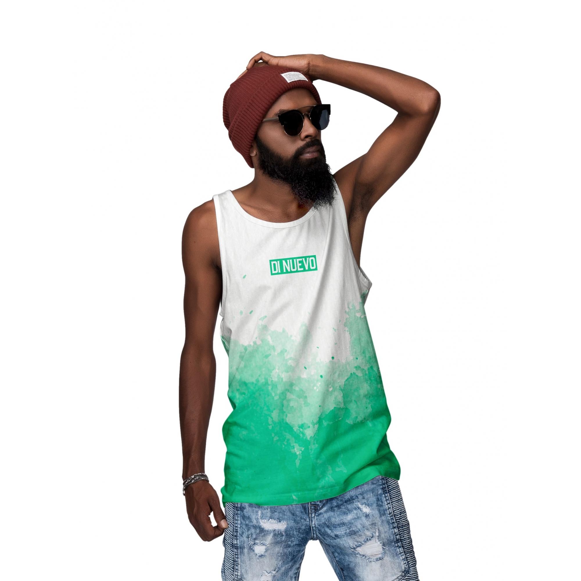 Camiseta Regata Verde Aquarela Masculina Di Nuevo