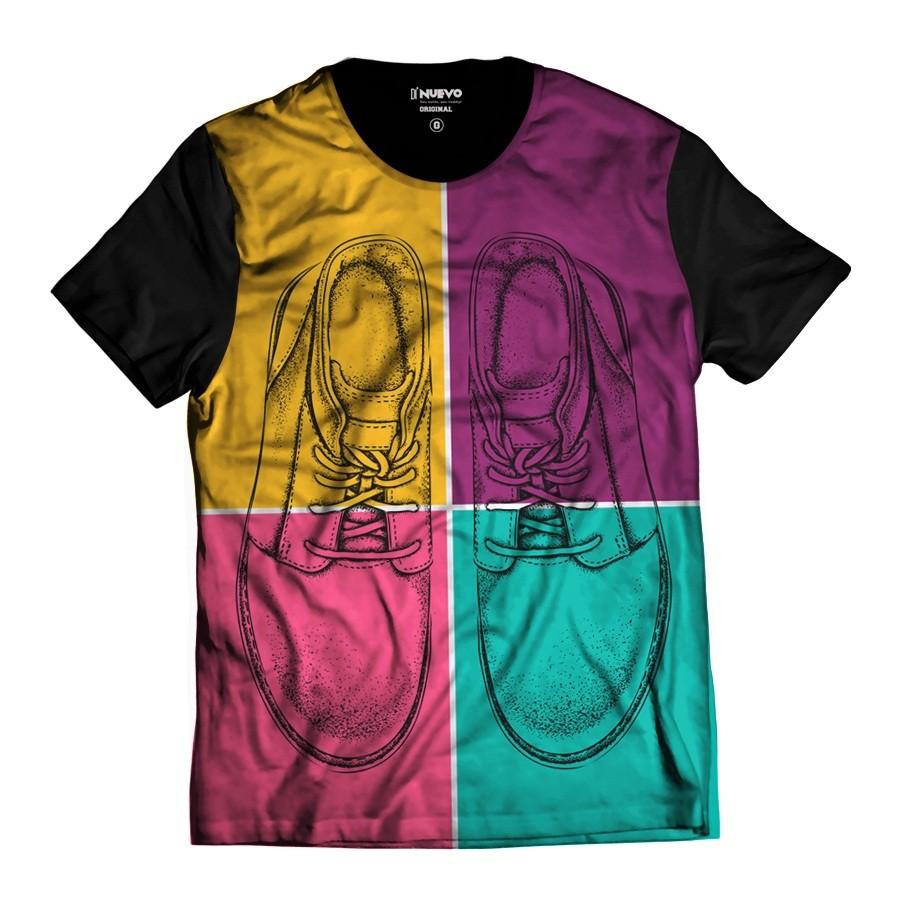 Camiseta Pop Rock Tênis Colorido Divertido Sapatos