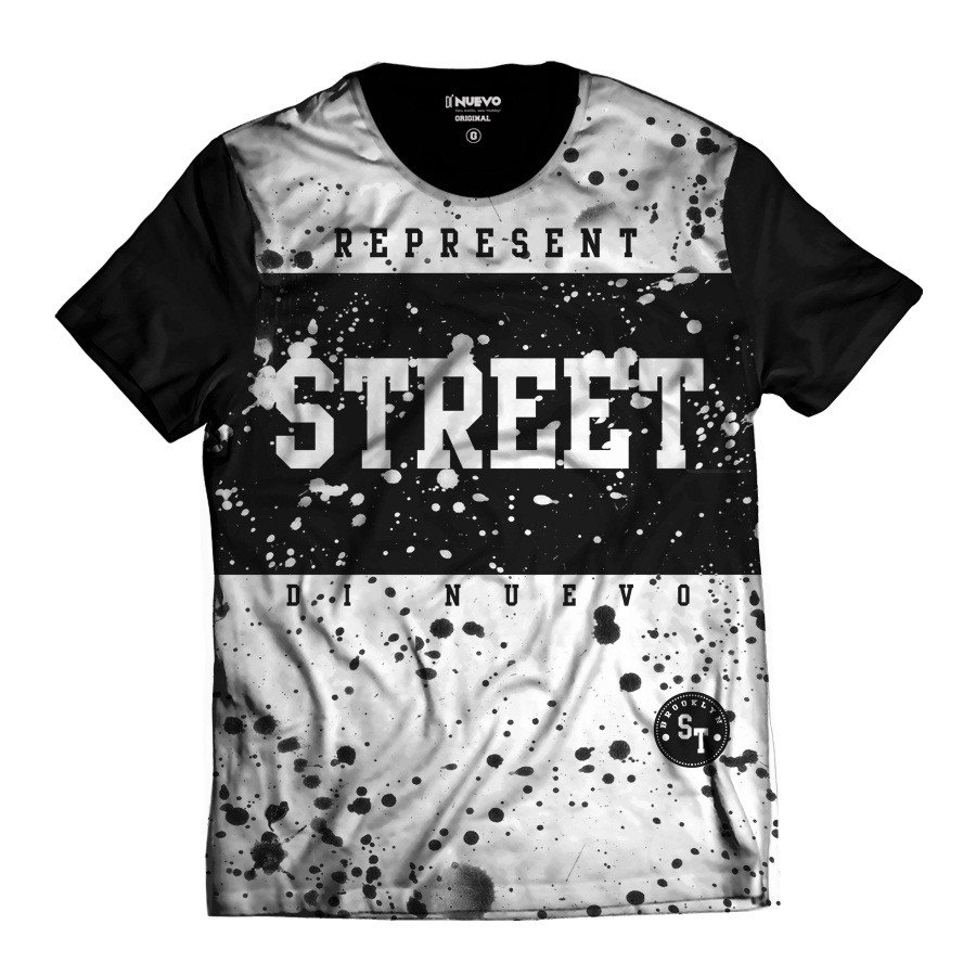 Camiseta Street Wear Di Nuevo Represent Preta e Branca Brooklyn