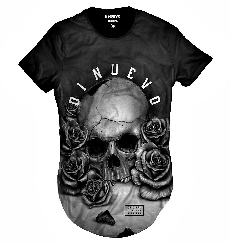 Camiseta Swag Caveira com Rosas Black and White Thug Life