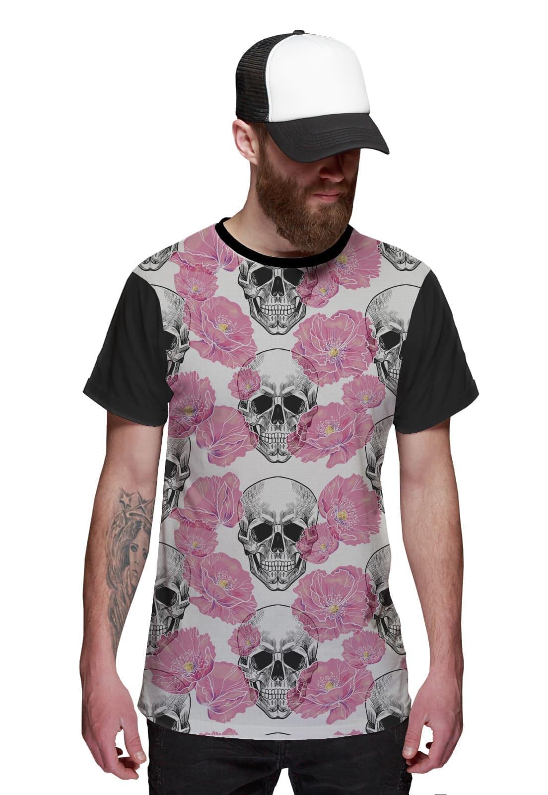 Camiseta T-shirt Rosa com caveira Floral Street Wear