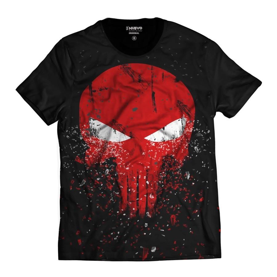 Camiseta The Punisher Justiceiro Caveira Vermelha Fragmentos