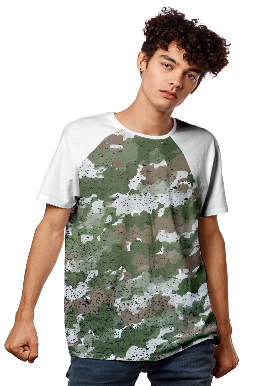 Camiseta Verde Militar Camuflada Raglan Masculina