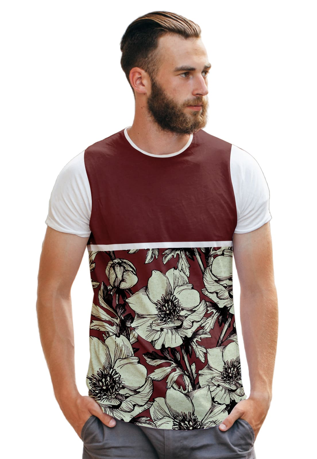 Camiseta Vermelha Florida Masculina Flores Collection