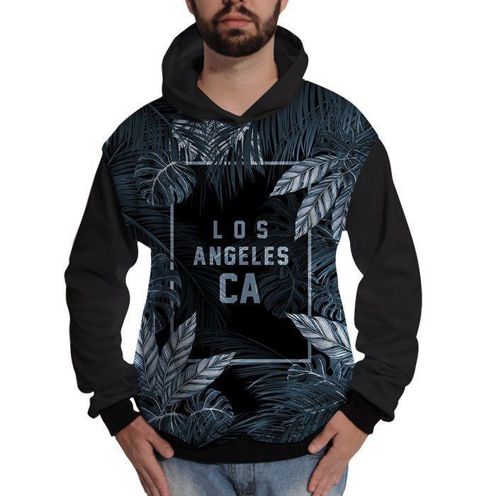 Blusa de Moletom Los Angeles Califórnia Azul Street Wear