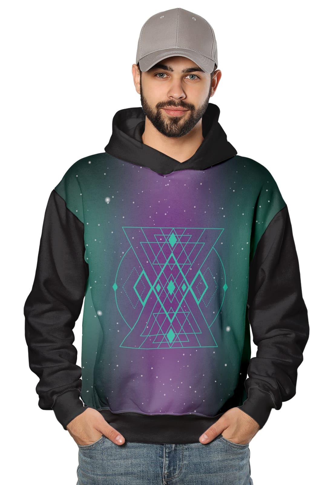 Moletom Masculino com Capuz Galaxy Cosmic Triangle