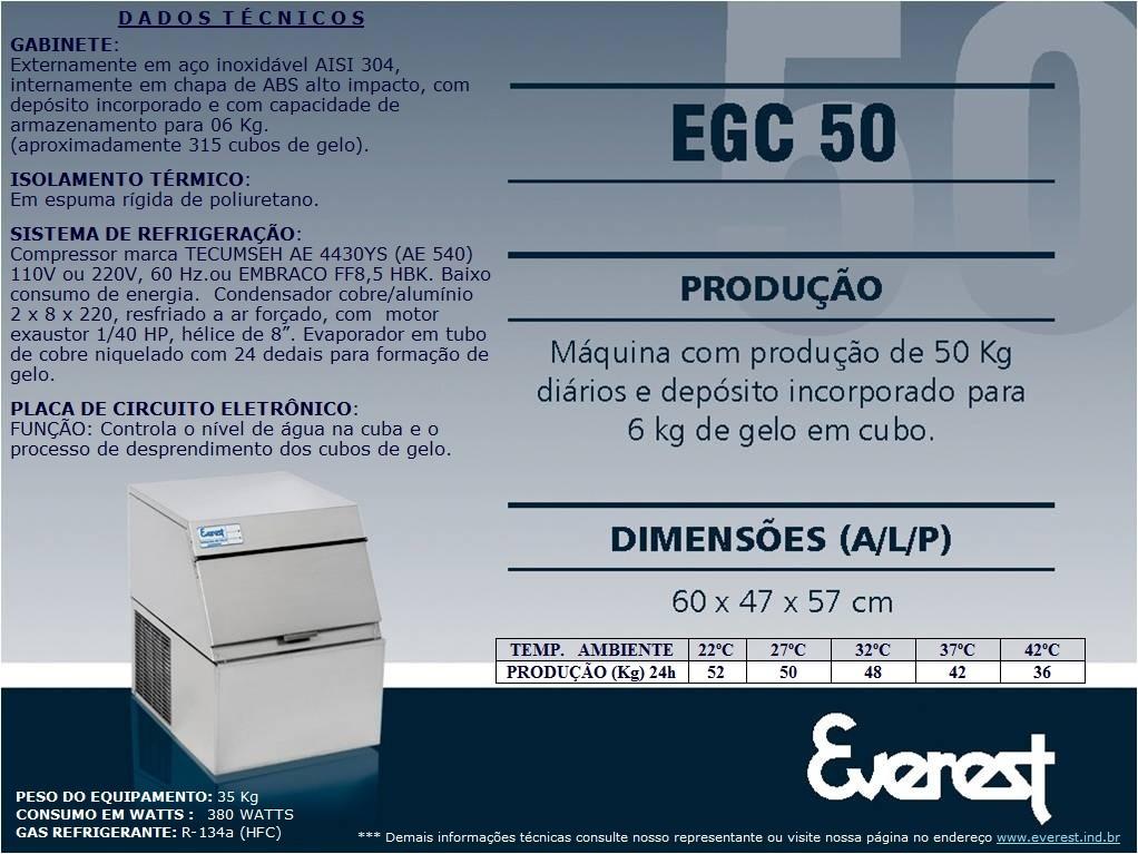 Máquina de gelo em cubo EGC 100A (Produção 114 KG/Dia)