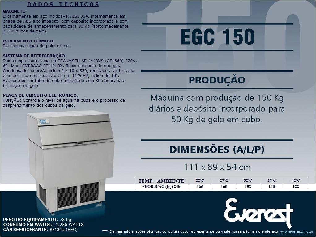 Máquina de gelo em cubo EGC 150A (Produção 166 KG/Dia)
