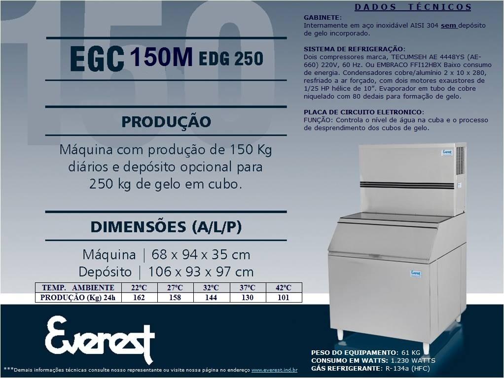 Máquina de gelo em cubo EGC 300MA/250 (Produção 324 KG/Dia)