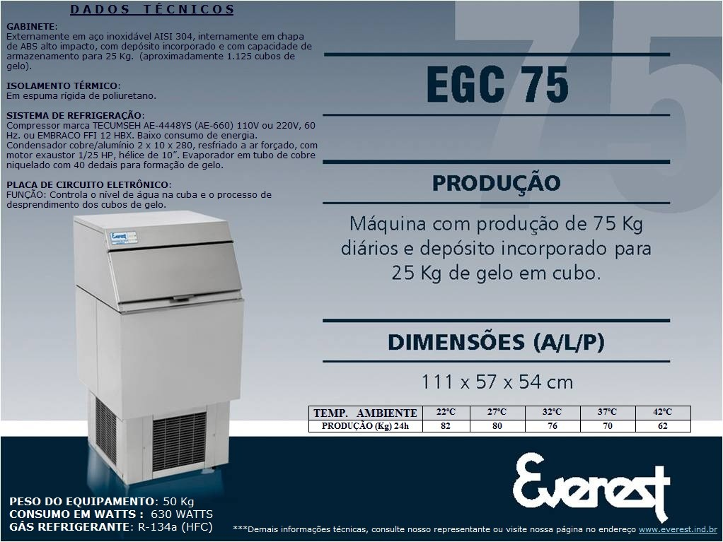 Máquina de gelo em cubo EGC 75A (Produção 82 KG/Dia)