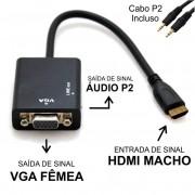 Cabo Conversor HDMI Macho p/ VGA Femea c/ Audio Importado
