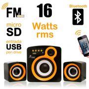 Caixa de Som c/ Subwoofer 2.1 16 Watts Rms Usb/SD/Bluetooth Knup KP-6011
