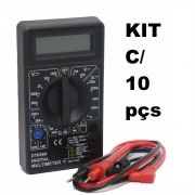 Kit com 10 Multímetros Digital DT-830 Preto