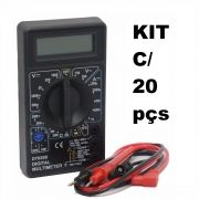 Kit com 20 Multímetros Digital DT-830B Preto