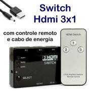Switch HDMI 3 Entradas e 1 Saida c/ Controle Remoto