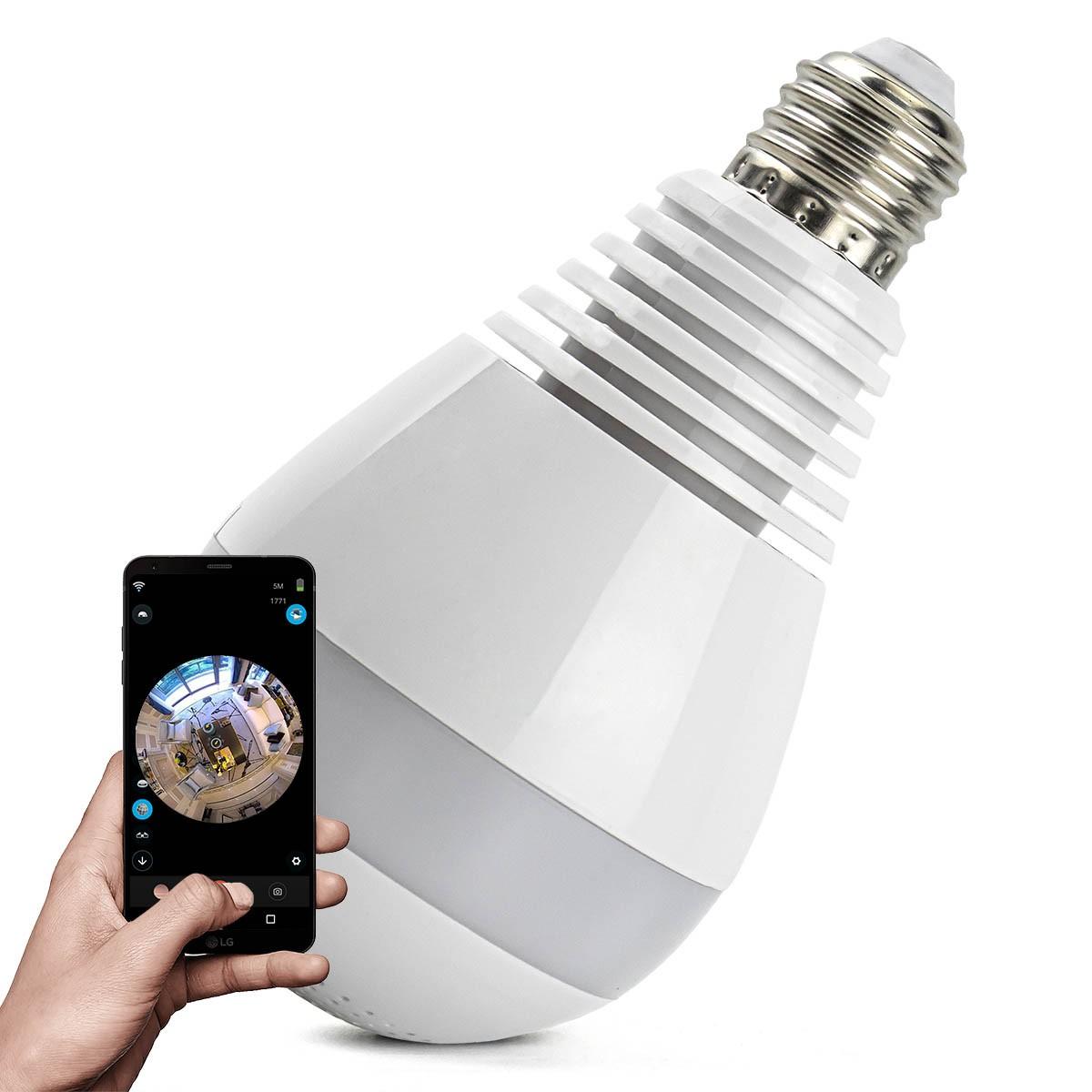 Câmera IP Wi-fi Panorâmica 360º Lâmpada LED Espiã Ipega KP-CA153