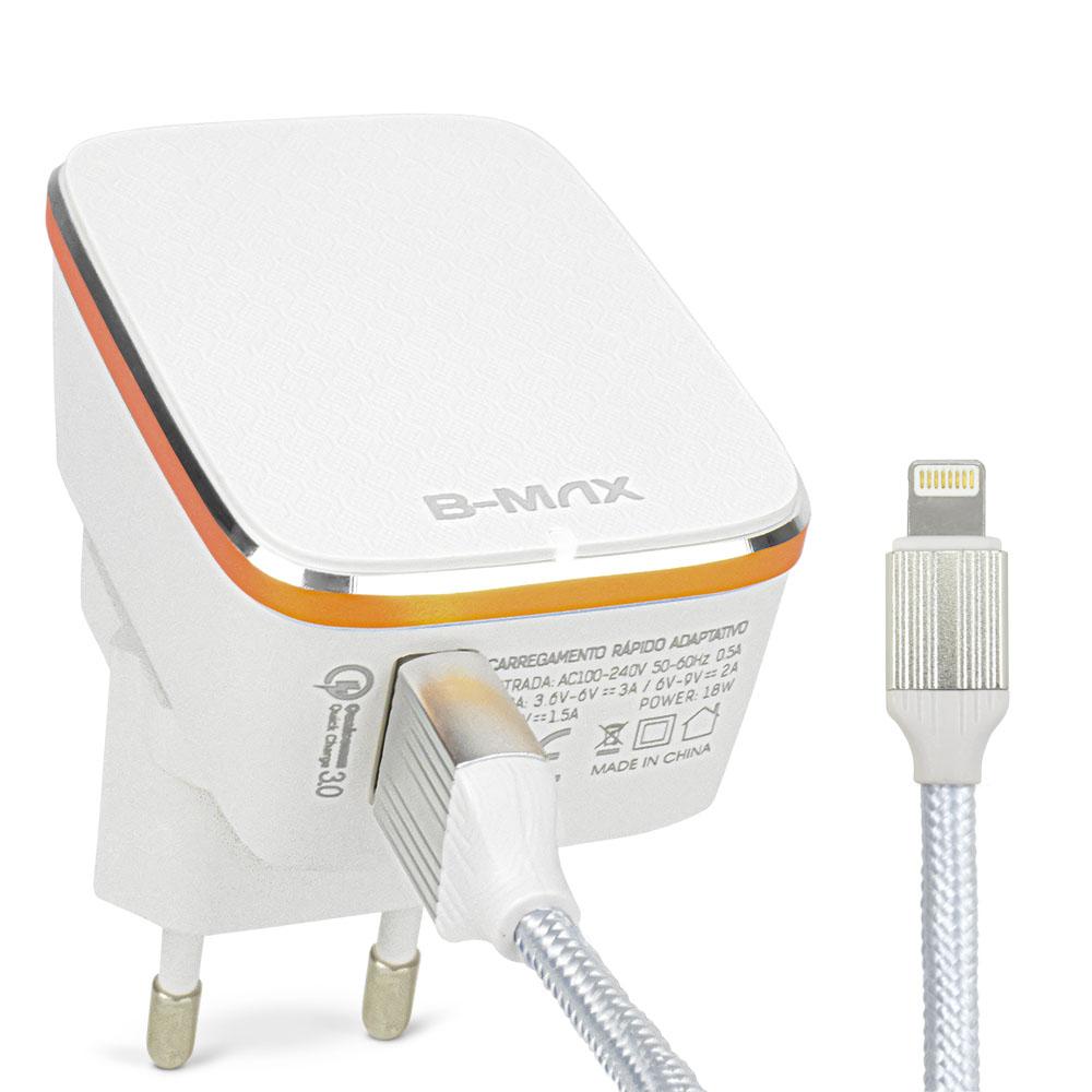 Carregador Turbo Quick Charge 3.0 18w para Iphone Lightning B-Max BM8608