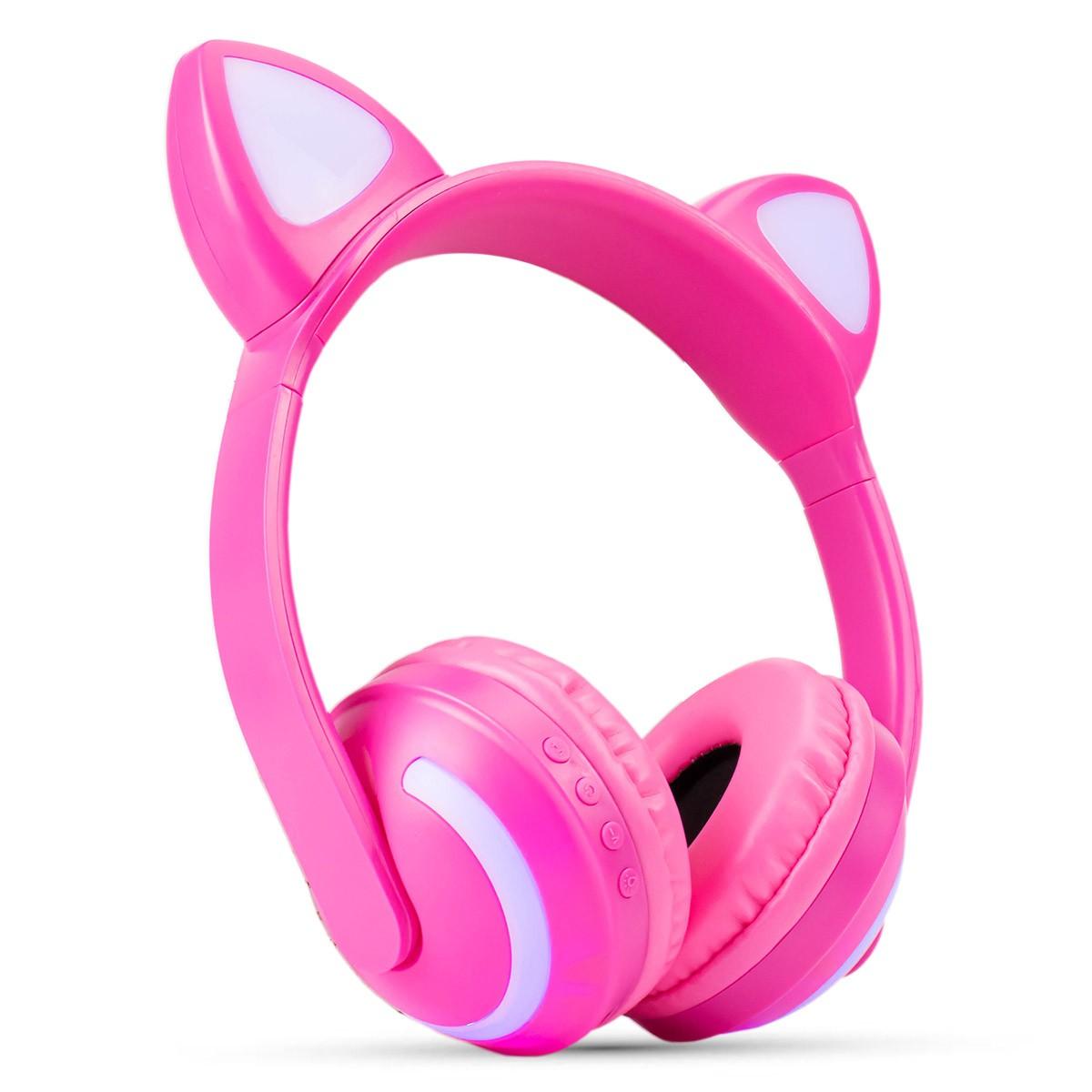 Fone de Ouvido Headphone Bluetooth Orelhas de Gato com LED XTrad LC-831