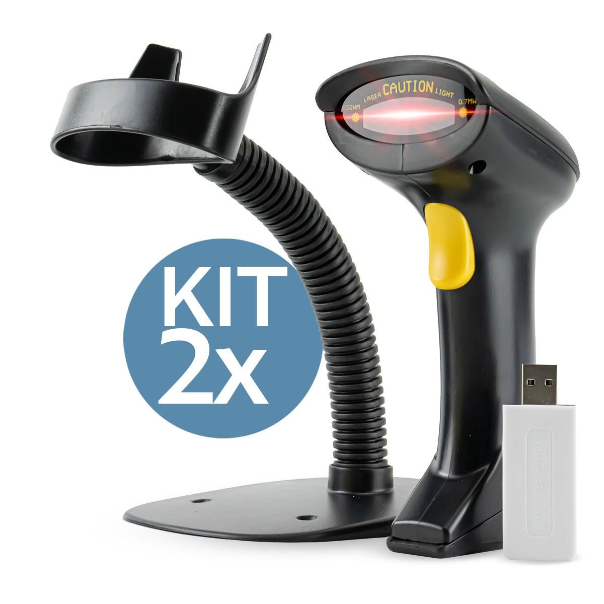 KIT 2x Leitor de Código de Barras Sem Fio com Base de Suporte B-Max LM-800