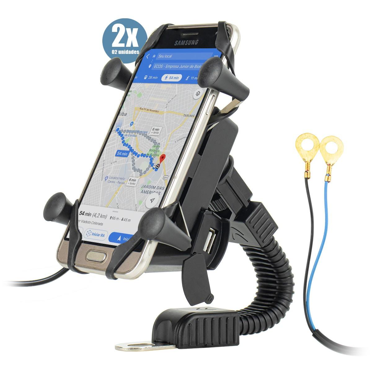 KIT 2x Suporte de Celular para Moto Retrovisor com Carregador IT-Blue LE-041