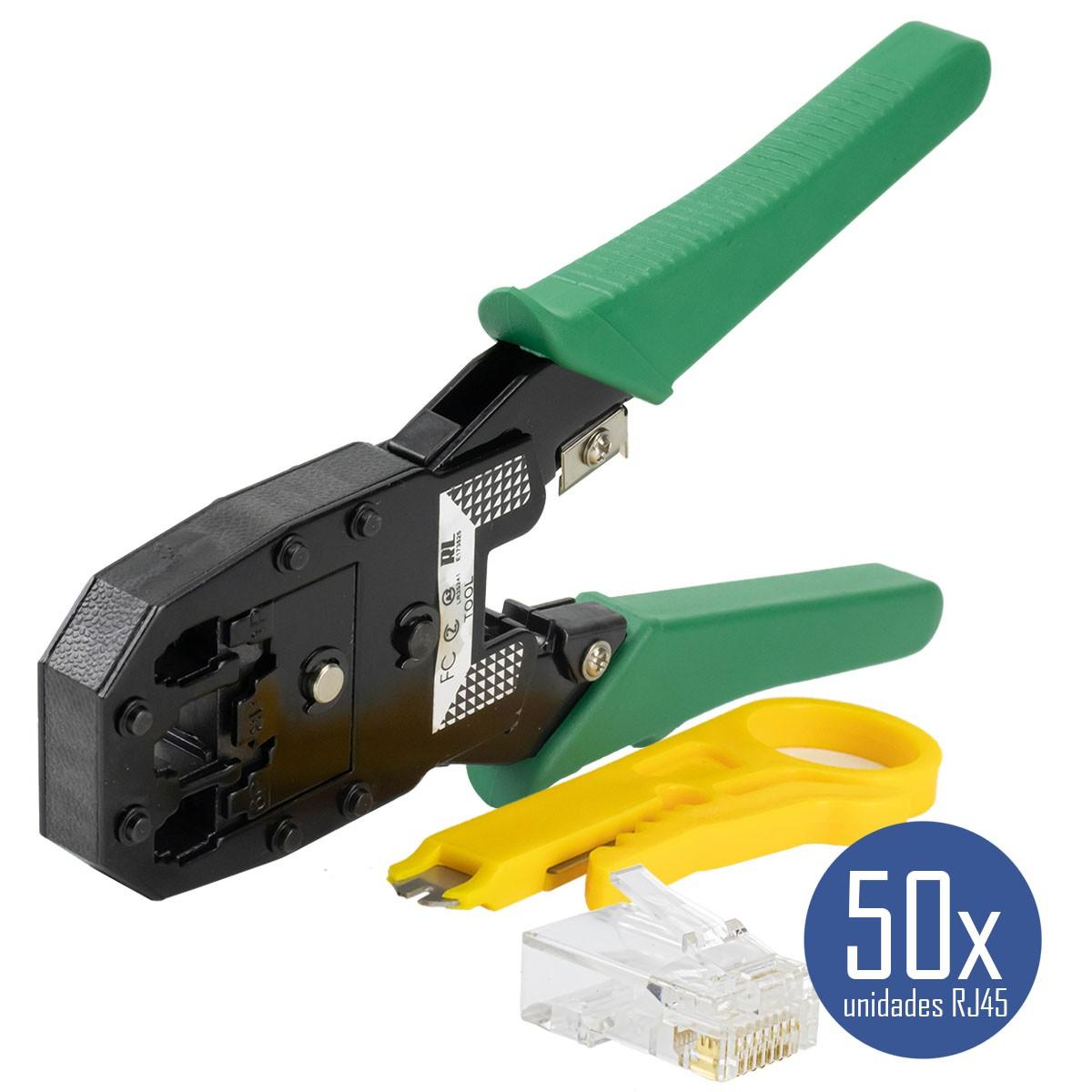 KIT Alicate p/ Crimpagem RJ45 e RJ11 + 50x Conectores RJ45