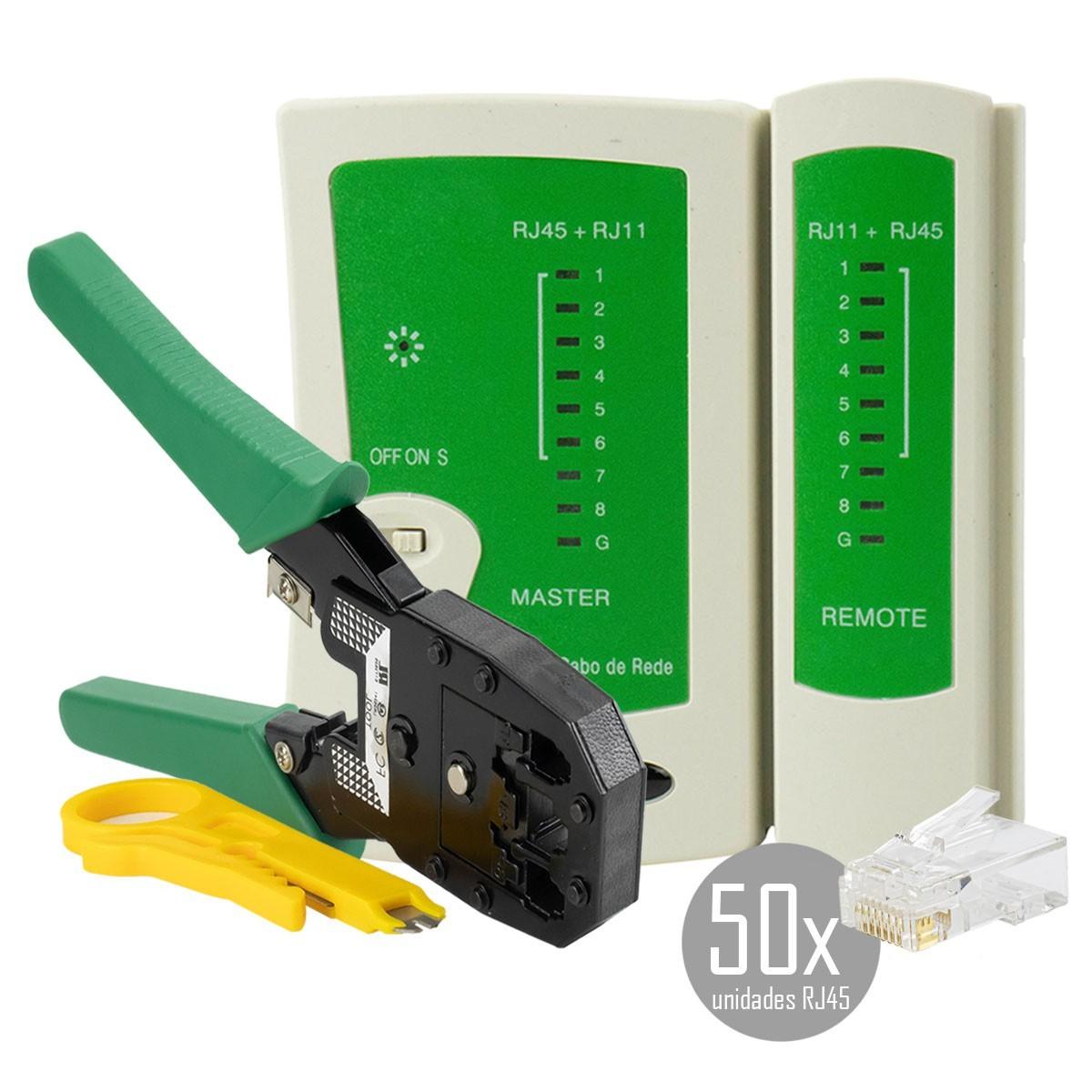 KIT Alicate p/ Crimpagem RJ45 e RJ11 + Testador de Cabos RJ45 + 50x Conectores RJ45