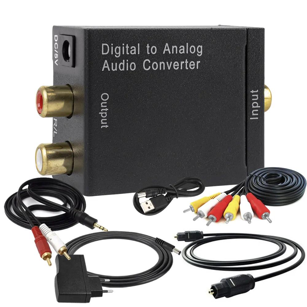 KIT Conversor Áudio Digital para RCA + Cabo Óptico Toslink 3 mts + Cabo Áudio Rca x Rca e Rca x P2