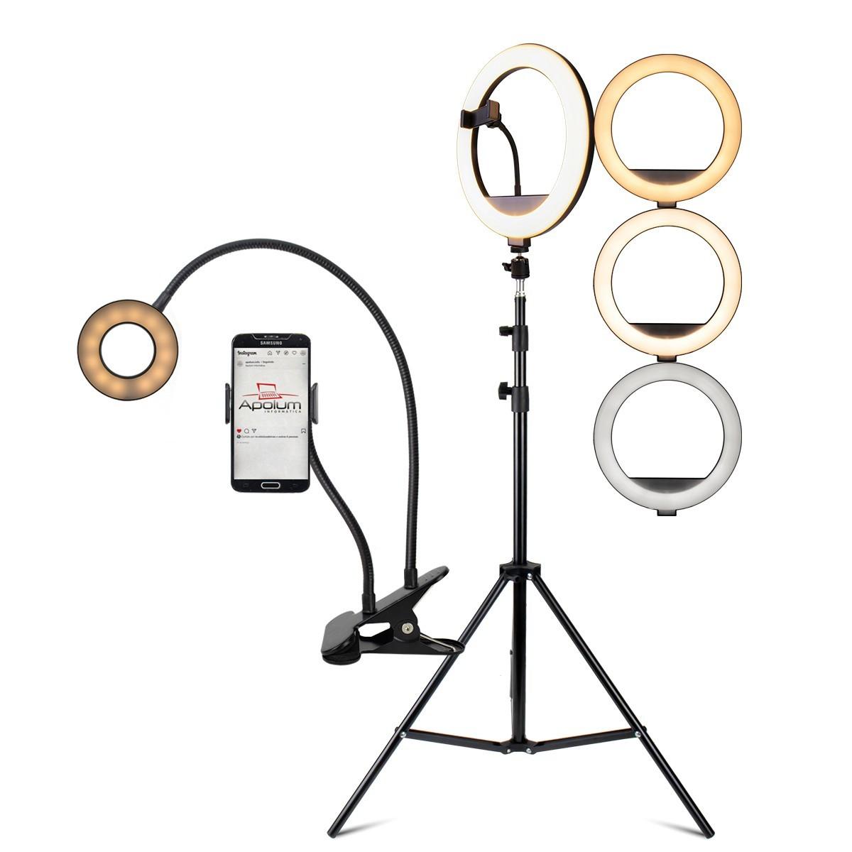 KIT Iluminador Ring Light 12 Polegadas LED Dimerizável com Ajuste de Intensidade e Suporte de Celular + Tripé de 2,10 metros + Ring Light 3,5 Polegadas com Presilha