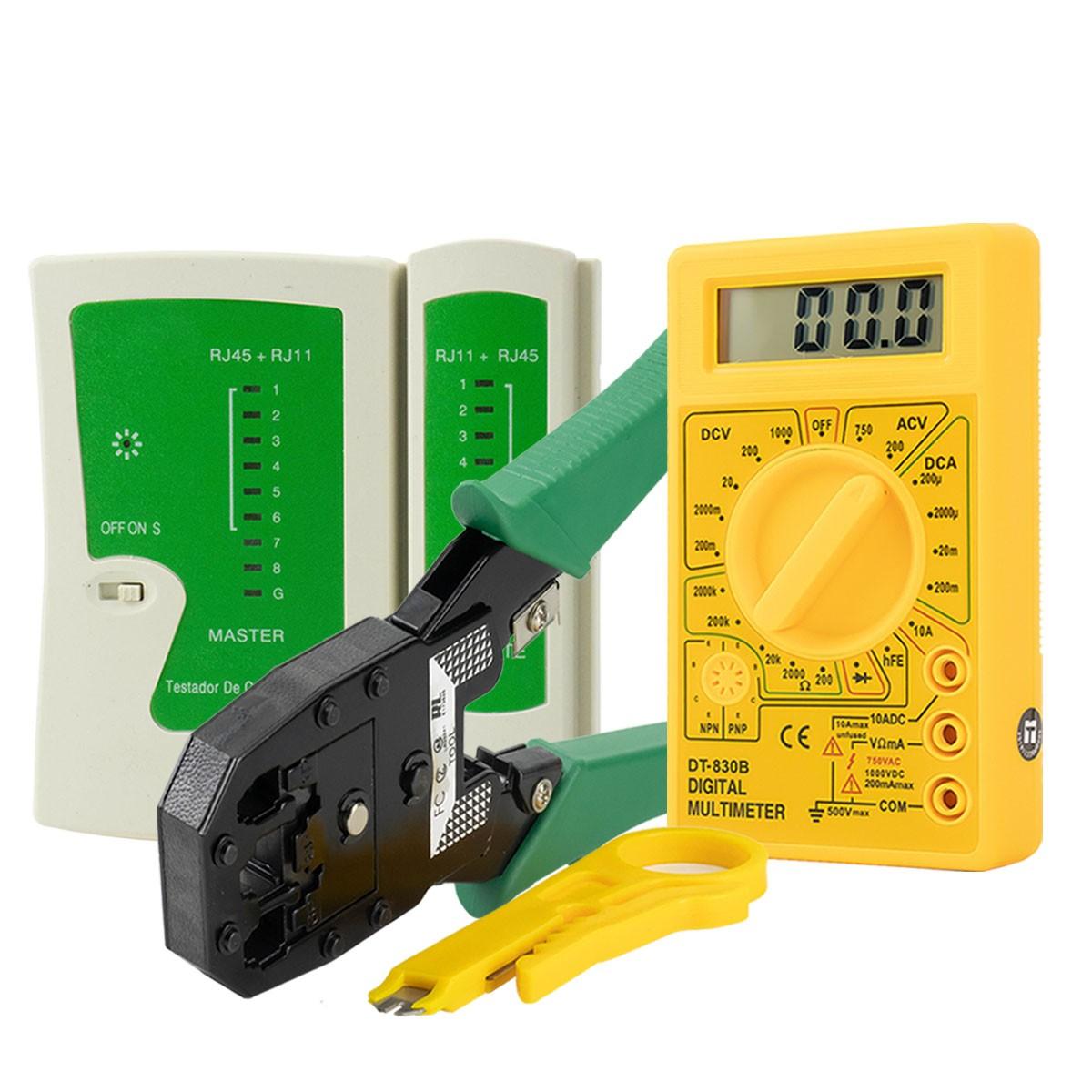 KIT Multímetro Digital + Testador de Cabo RJ45 e Rj11 + Alicate de Crimpagem RJ45 e RJ11