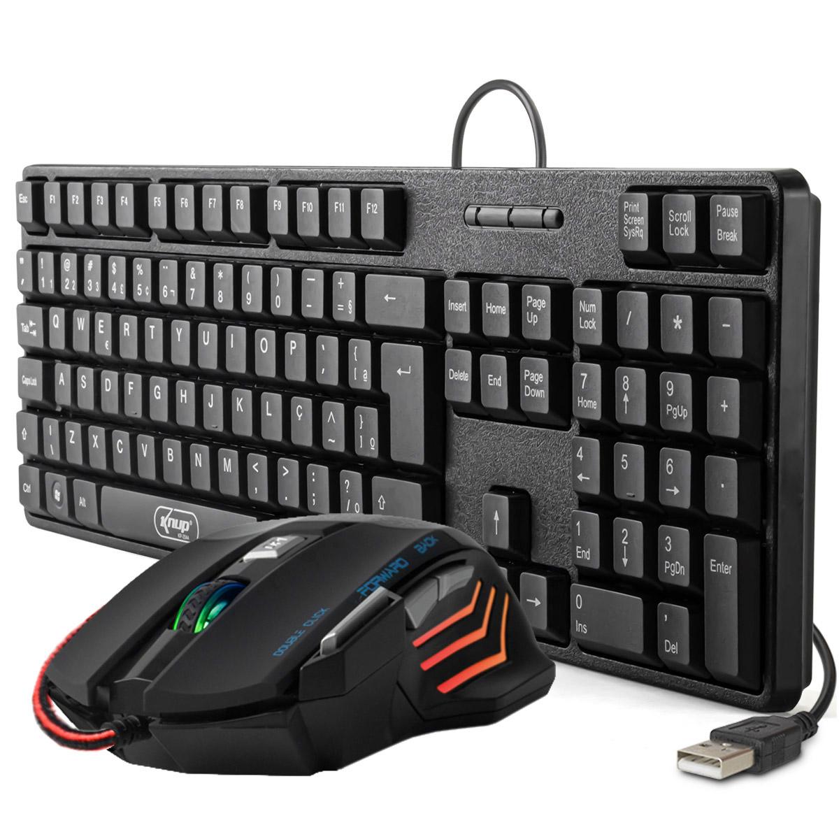KIT Teclado e Mouse USB ABNT 2 (com Ç) Knup KP-2044 + Mouse Gamer 7 Botões DPI Ajustável GM-700
