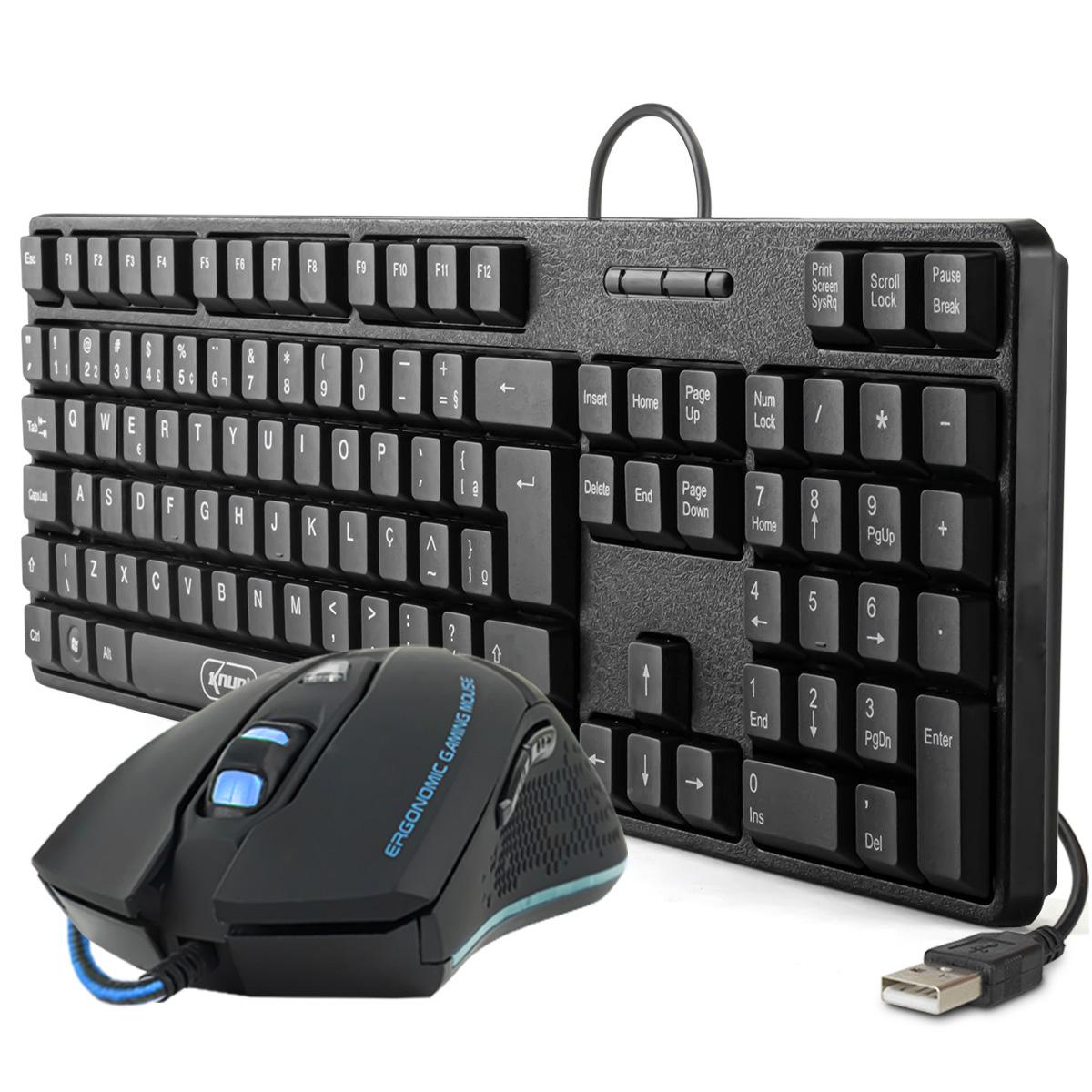KIT Teclado e Mouse USB ABNT 2 (com Ç) Knup KP-2044 + Mouse Gamer LED USB X8