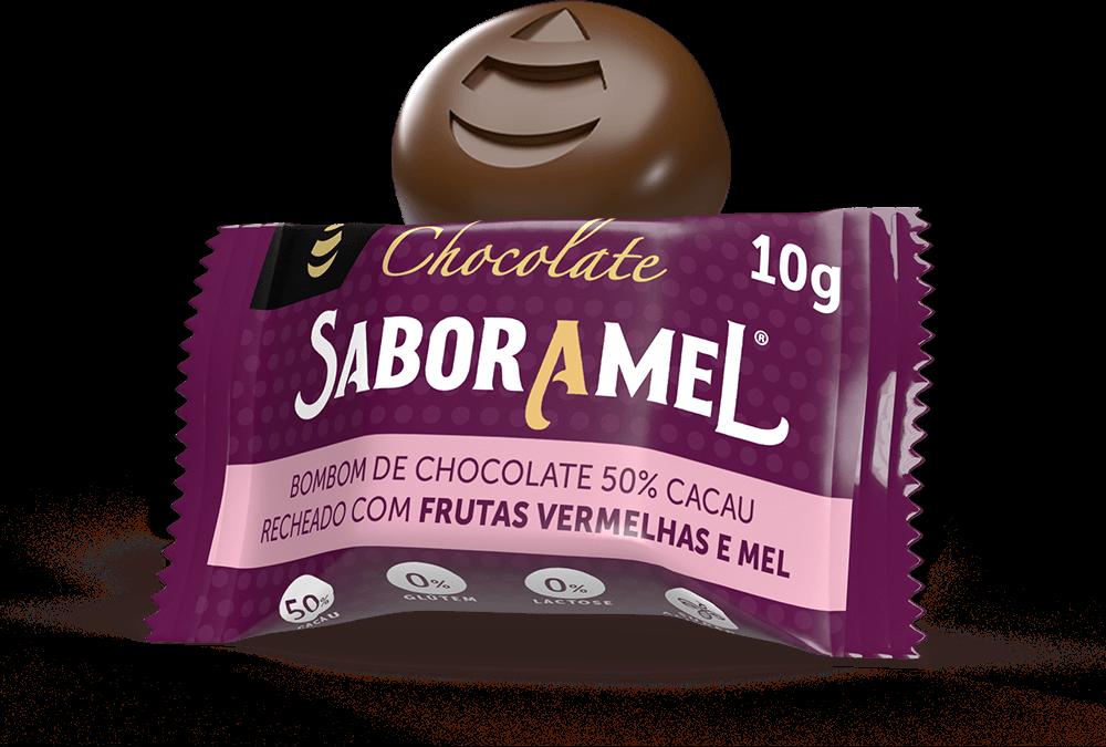 Chocolate SABORAMEL Frutas Vermelhas Bombom 10g (uni)