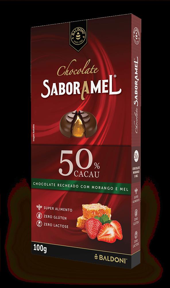 Chocolate SABORAMEL Morango Tablete 100g (uni)