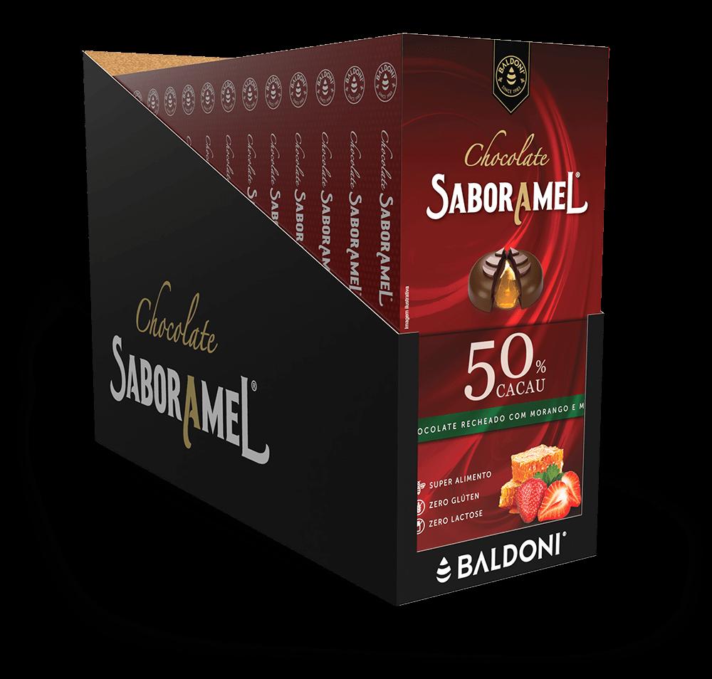 Display - 15 unidades - Chocolate SABORAMEL Morango  Tablete  100g (uni)