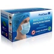 Máscara Descartável Tripla TNT c/ Elástico - Branca - c/50 unidades - Protclean