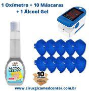 Oxímetro de Dedo 50 DL Contec + 1 Álcool Gel + 10 máscaras pff2 s/ válvula