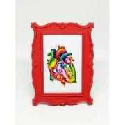 Porta Retrato Vermelho - Gravura Coração