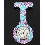 Relógio Estampado - Arabecos Lilás/Azul