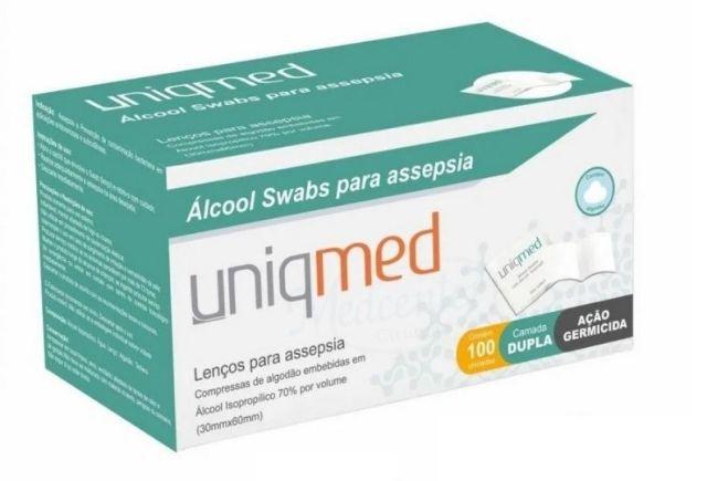 ÁLCOOL SWABS PARA ASSEPSIA C/ 100 UN. - UNIQMED