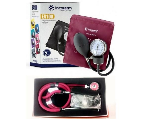 Aparelho de Pressão Incoterm + Estetoscópio Rappaport PAMED + Bolsa - Bordô