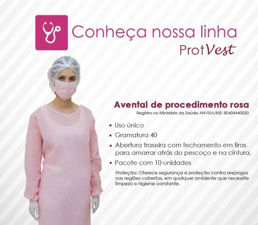 Avental de procedimento rosa - Pct c/10