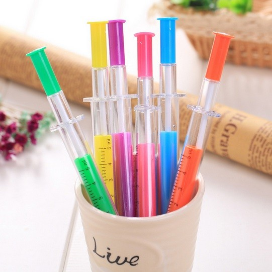 Caneta - Escrita Colorida - Modelo Seringa -  Kit com 6 canetas