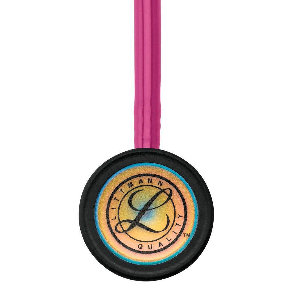 Estetoscópio Littmann Classic III Raspberry Rainbow 5806 3M + Bling Rose Gold + Lanterna