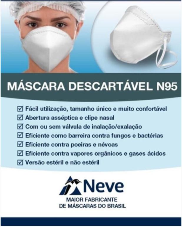 kit c/ 5 - Máscara sem Válvula N95 PFF2.S - Branca - NEVE PREMIUM