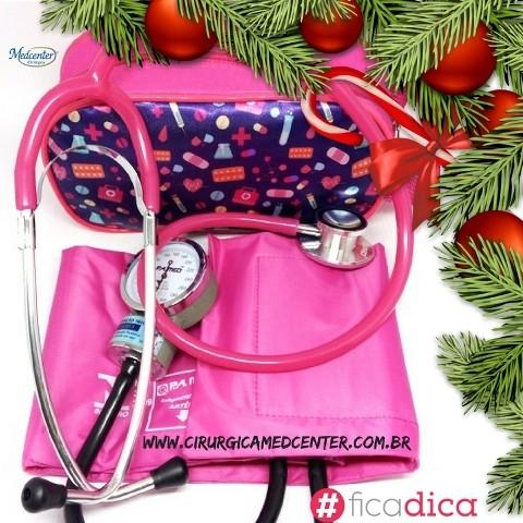 Kit Rosa Chiclete Aparelho de Pressão + Estetoscópio Duosson PAMED + Estojo Estampado
