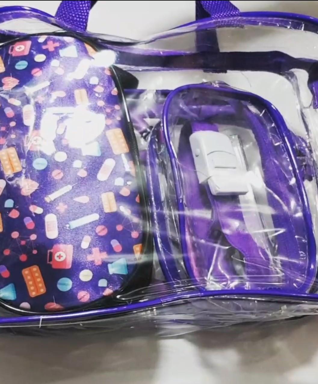 Kit Roxo com bolsa transparente