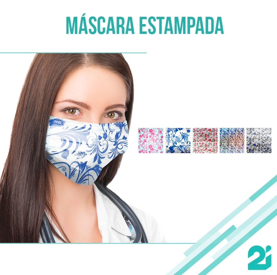 Máscara Tripla com elástico - Estampada