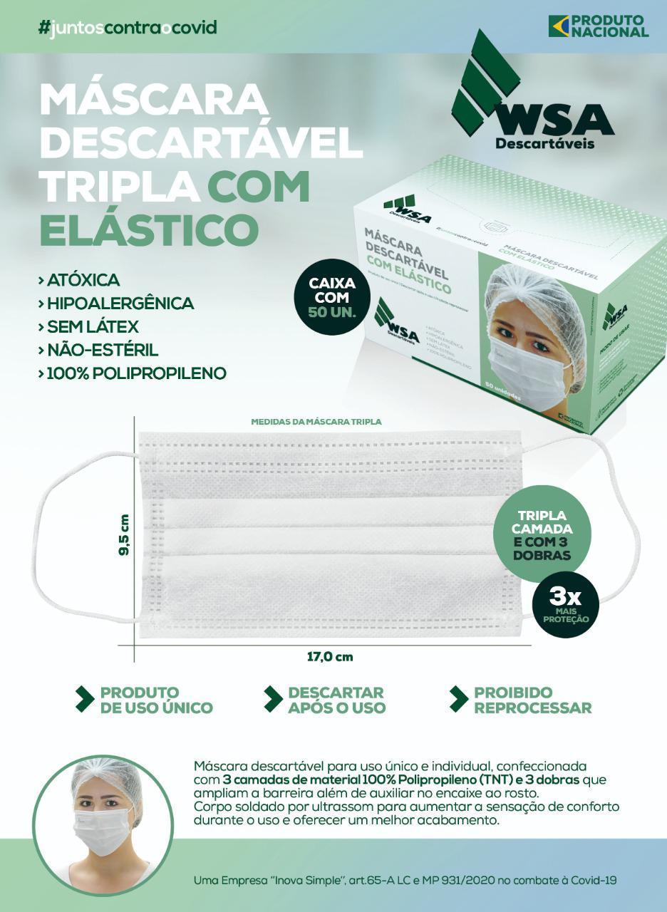 Máscara Descartável Tripla TNT c/ Elástico - Branca - c/50 unidades