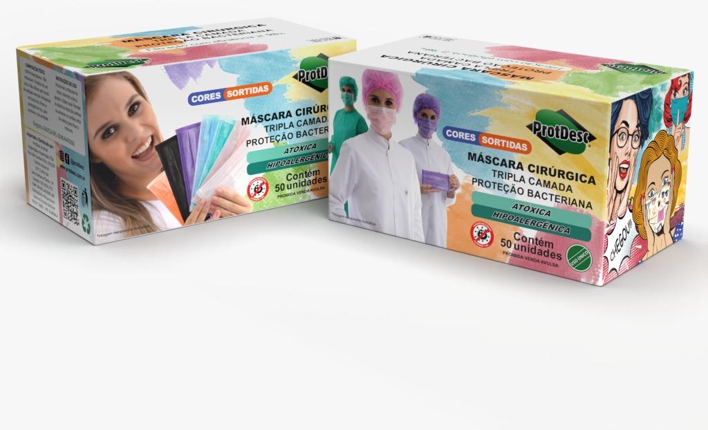 Máscara Descartável Tripla c/ Elástico - Cx. c/50 - Protdesc- Color